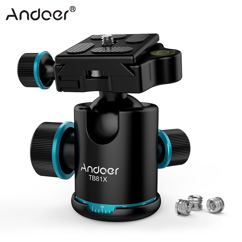 Andoer TB81X Tripod Ball Head 360 Degree Rotating Panoramic Ball Head for DSLR Camera Tripod Monopod Slider Ball Head