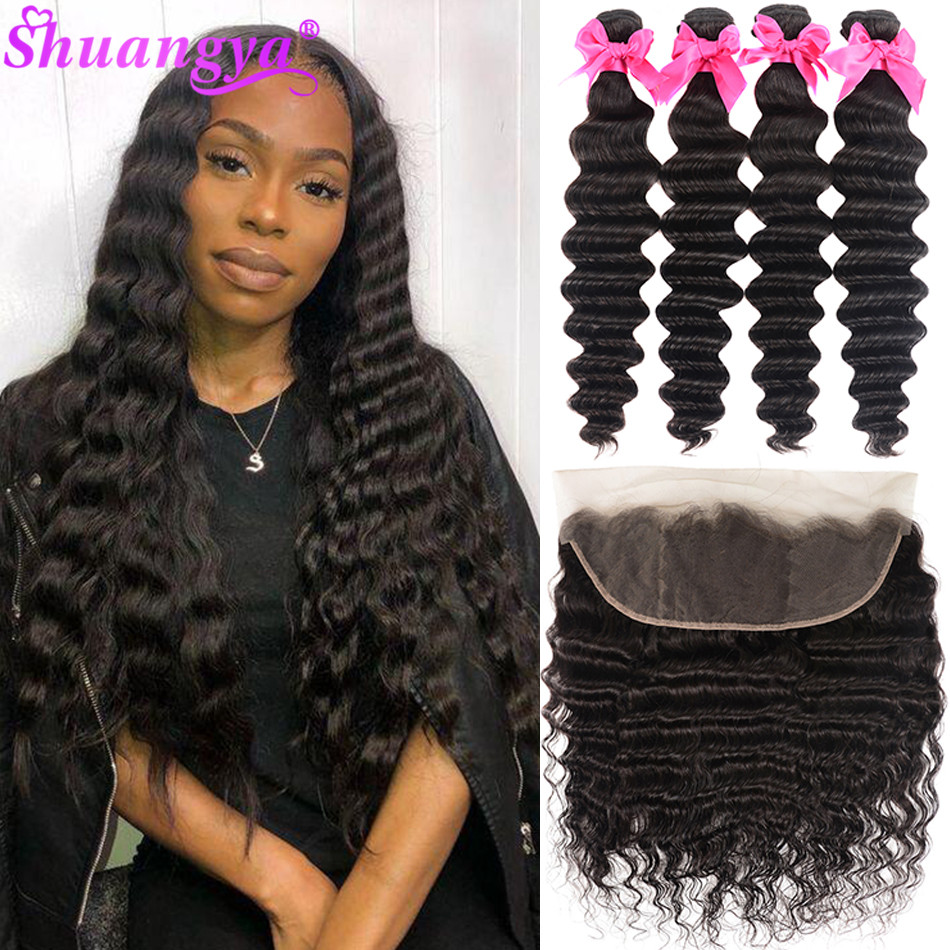 Transparent Lace Frontal With Bundles Peruvian Loose Deep Wave Bundles With Frontal Shuangya 100% Remy Human Hair With Closure