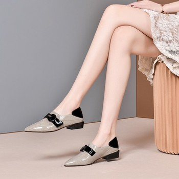 MLJUESE 2020 women pumps autumn spring soft cow leather buckle strap pointed toe gray color low heels lady shoes size 41 party