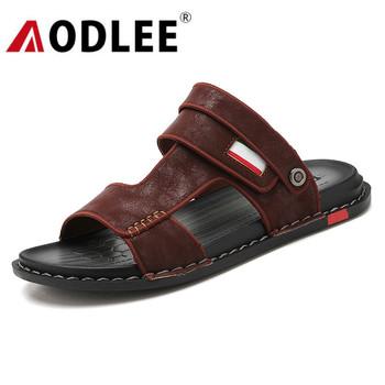 Męskie sandały Casual męskie sandały plażowe moda skórzane oddychające sandały klapki męskie antypoślizgowe obuwie Dropshipping AODLEE tanie i dobre opinie Syntetyczny Podstawowe NONE RUBBER Slip-on Niska (1 cm-3 cm) Pasuje prawda na wymiar weź swój normalny rozmiar Na co dzień