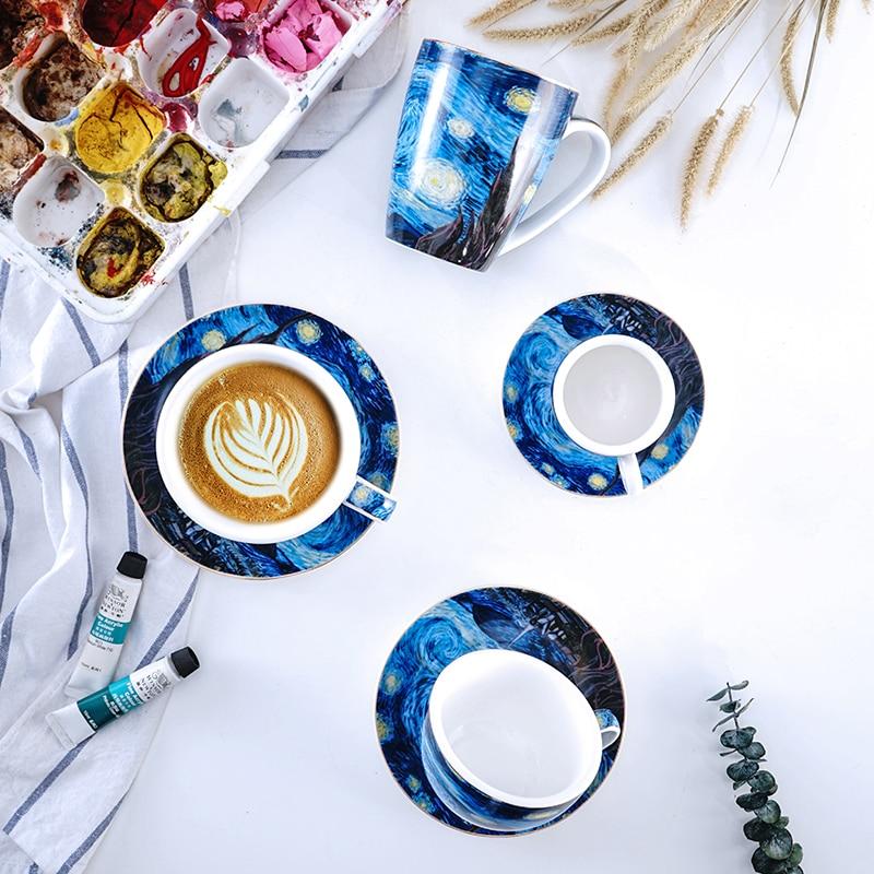 Креативная Звездная фарфоровая кофейная чашка и блюдце с ложкой Ван Гог Арт Набор кофейных чашек послеобеденный чайный набор Декоративная ...