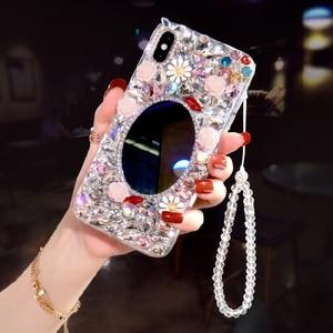 Блестящий зеркальный чехол с алмазными цветами для Xiaomi Redmi Note 10 Pro 8A 8 8T 7 7A 6 5 5A 4A 3 4X K30 Y3 Go S2 3X 5C 9 Pro Max 9S