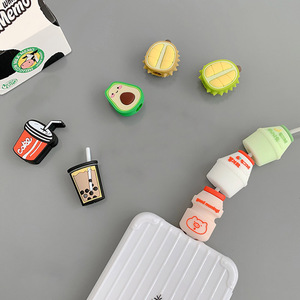 Image 2 - Funny Fruit Charging Cable Protector Cover For Mobile Phone USB Cable Data line Fracture prevention Cartoon Portable case