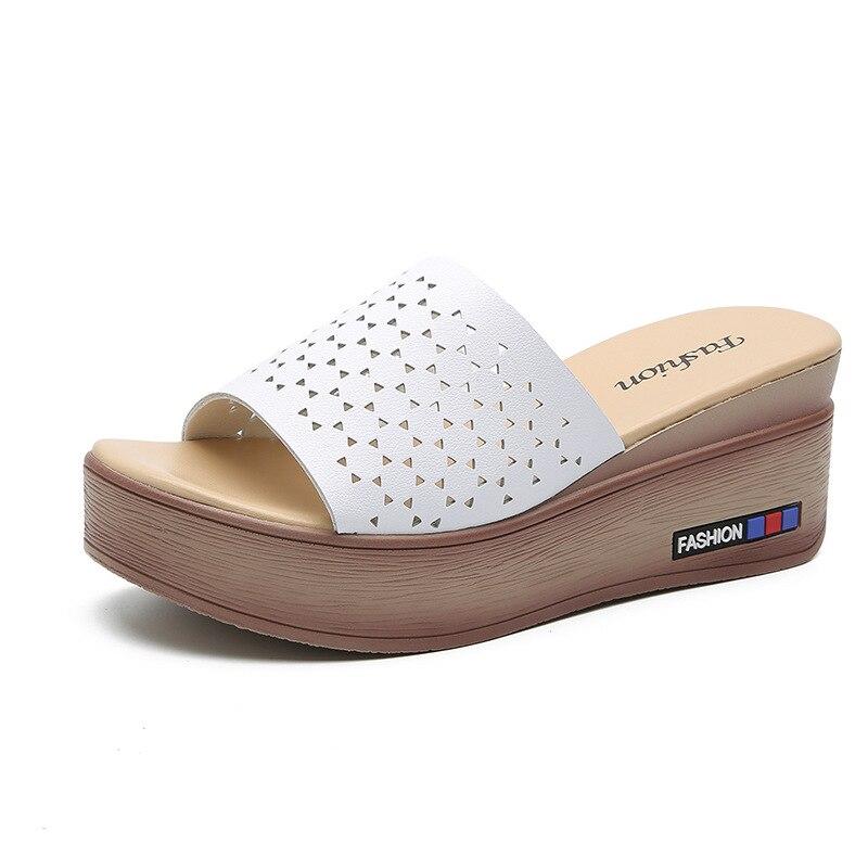 Купить женские летние шлепанцы из натуральной кожи туфли на танкетке