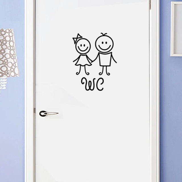 Cartoon WC Door Stickers 4