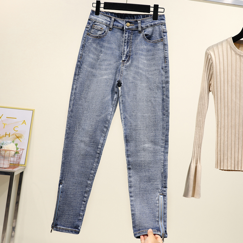 Plus Size High Waist Jeans Women 2019 Autumn Korean Fashion Elastic Denim Ladies Trousers Oversized Skinny Zipper Pencil Pants
