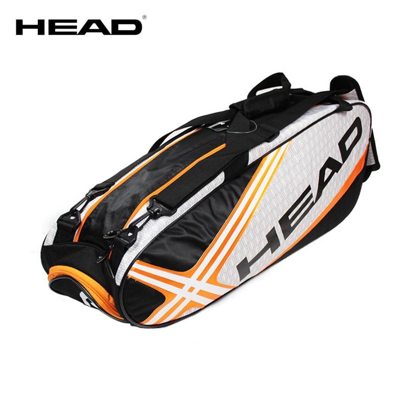 HEAD Tennis Bag Mens Tennis Racket Large Sport Bag Outdoor Gym Badminton Backpack 4-9 Racquet Sports Bag With Handle Waterproof