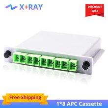 10 pièces/lot Type dinsertion de Cassette séparateur de fibers optiques boîte 1x8 SC/APC