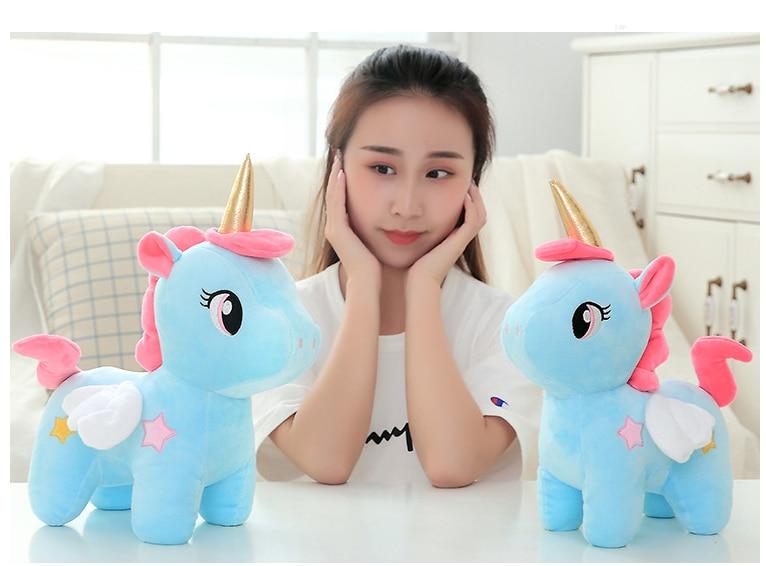 2019 Kawaii Mewah Mainan Lembut Unicorn Boneka Menenangkan Tidur Bantal Dekorasi Kamar Anak Mainan untuk Anak Murid Hadiah Natal