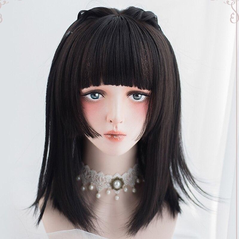 Парик Ailiade с короткими прямыми волосами и челкой, для косплея Боб, парик Лолиты, натуральные черные светильник-розовые, блонд, синтетические ...