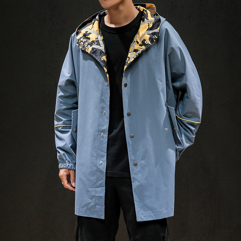 Men's windbreaker 2019 autumn and winter new long hooded windbreaker jacket loose solid color coat youth trend men's clothing