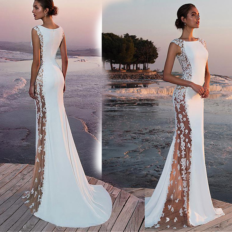 BacklakeGirls Elegant Scoop Neck Sexy Sleeveless Long White Trumpet Evening Dress For Wedding Evening Formal Party Avondjurken