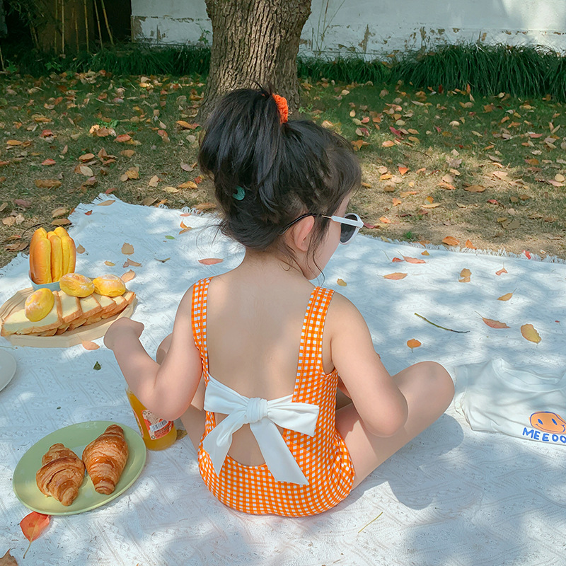2PCS Summer Orange Baby Girls Bikini Swimwear Children Toddler Baby Girls Hawaii Beach Backless Cute Swimming Costume