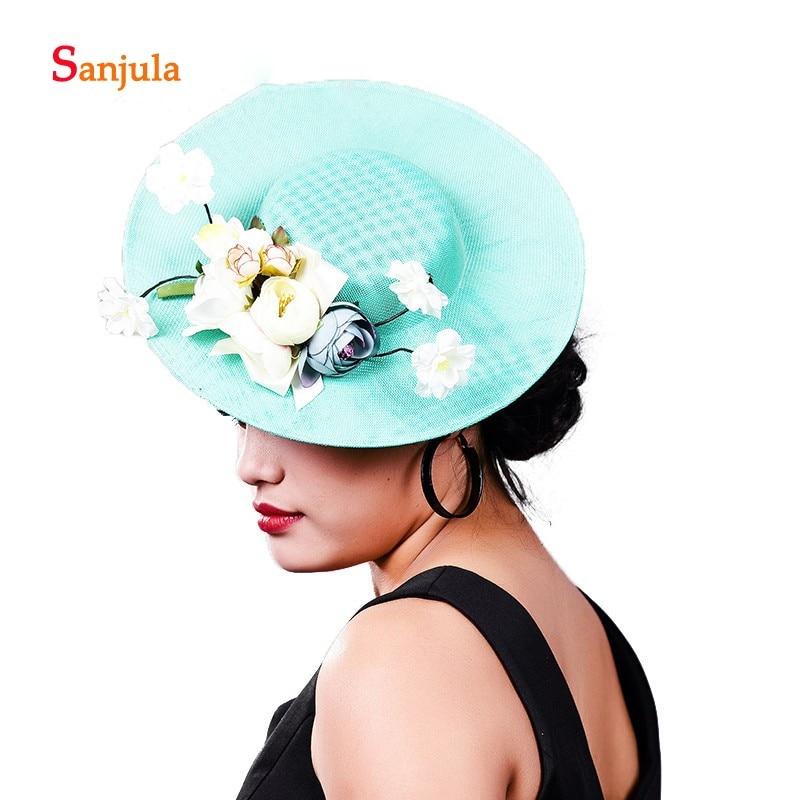 Turquoise Prom Party Hats For Women Handmade Flowers Elegant Bride Wedding Headwear Fanscinators Hair Accessories H364