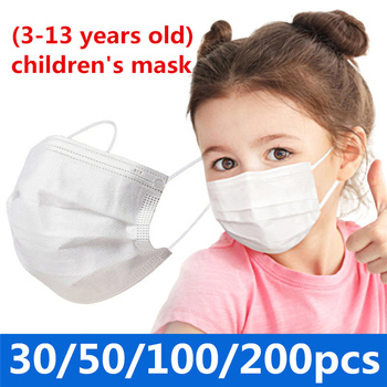 30/50/100/200 Pcs White Kids Disposable Mask 3 Ply Child Filter Hygiene Thicken Children's Face Mouth Mask Earloop 24h Fast Ship