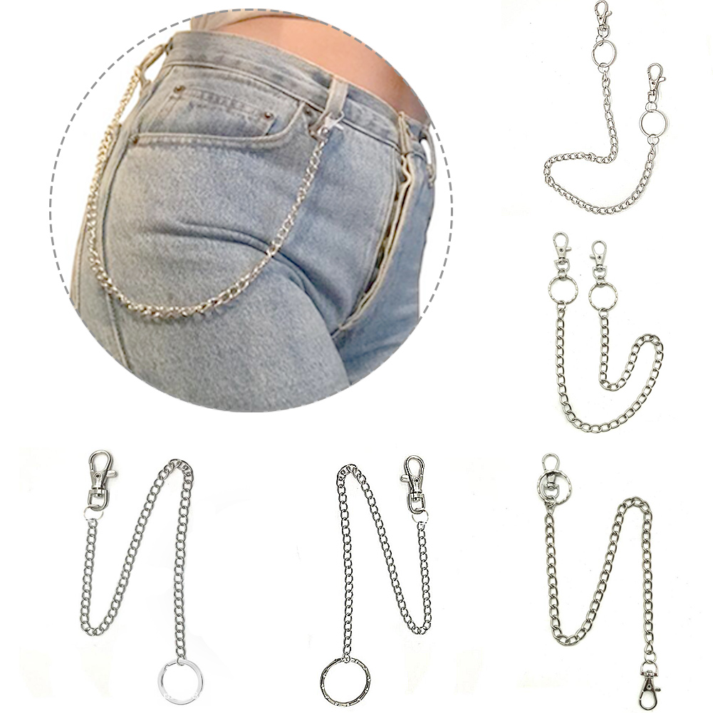 1 PC Long Metal Wallet Belt Chain Punk Hook Trouser Pant Jeans Waist Link Silver Cool Chic Unisex Hip Hop Belts High Quality