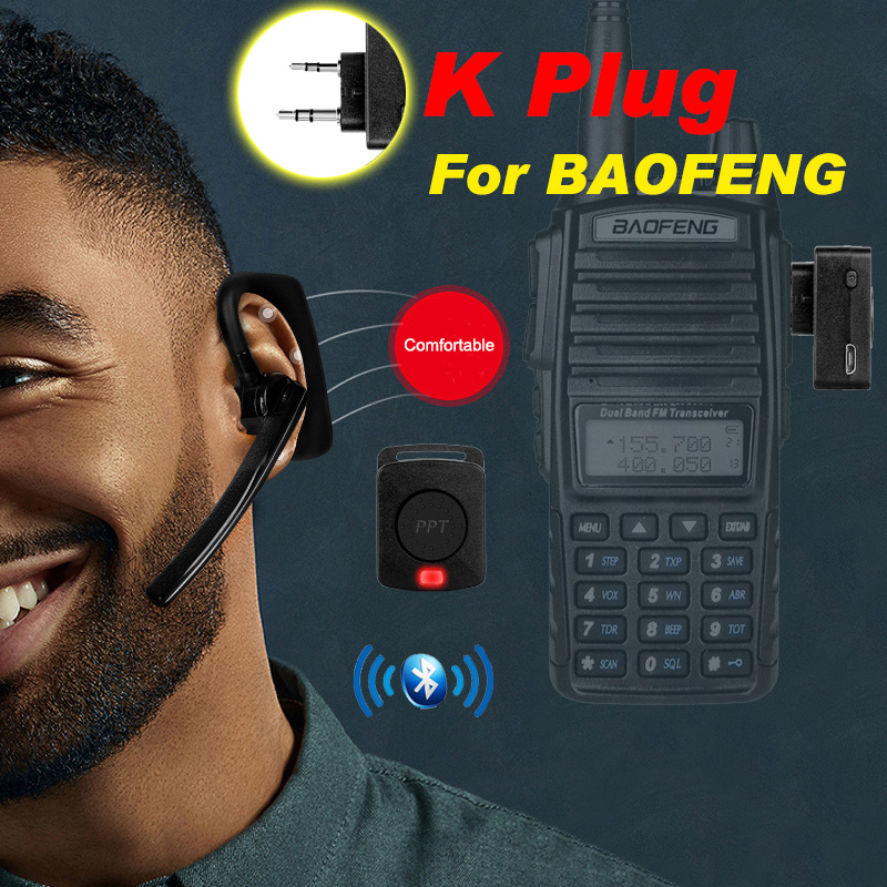Walkie Talkie Wireless Bluetooth Headset Two Way Radio Wireless Headphone Earpiece K Type For Baofeng UV-82 KSUN Retevis Kenwood