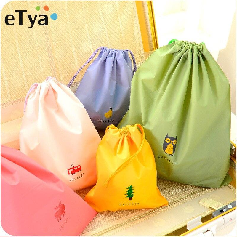ETya Women Make Up Bag PVC Travel Girl Drawstring Neceser Toiletry Cosmetic Bag Organizer Set Brush Towel Storage Bag Pouch