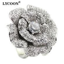 Модные женские роскошные фирменные кольца lycoon с большим цветком