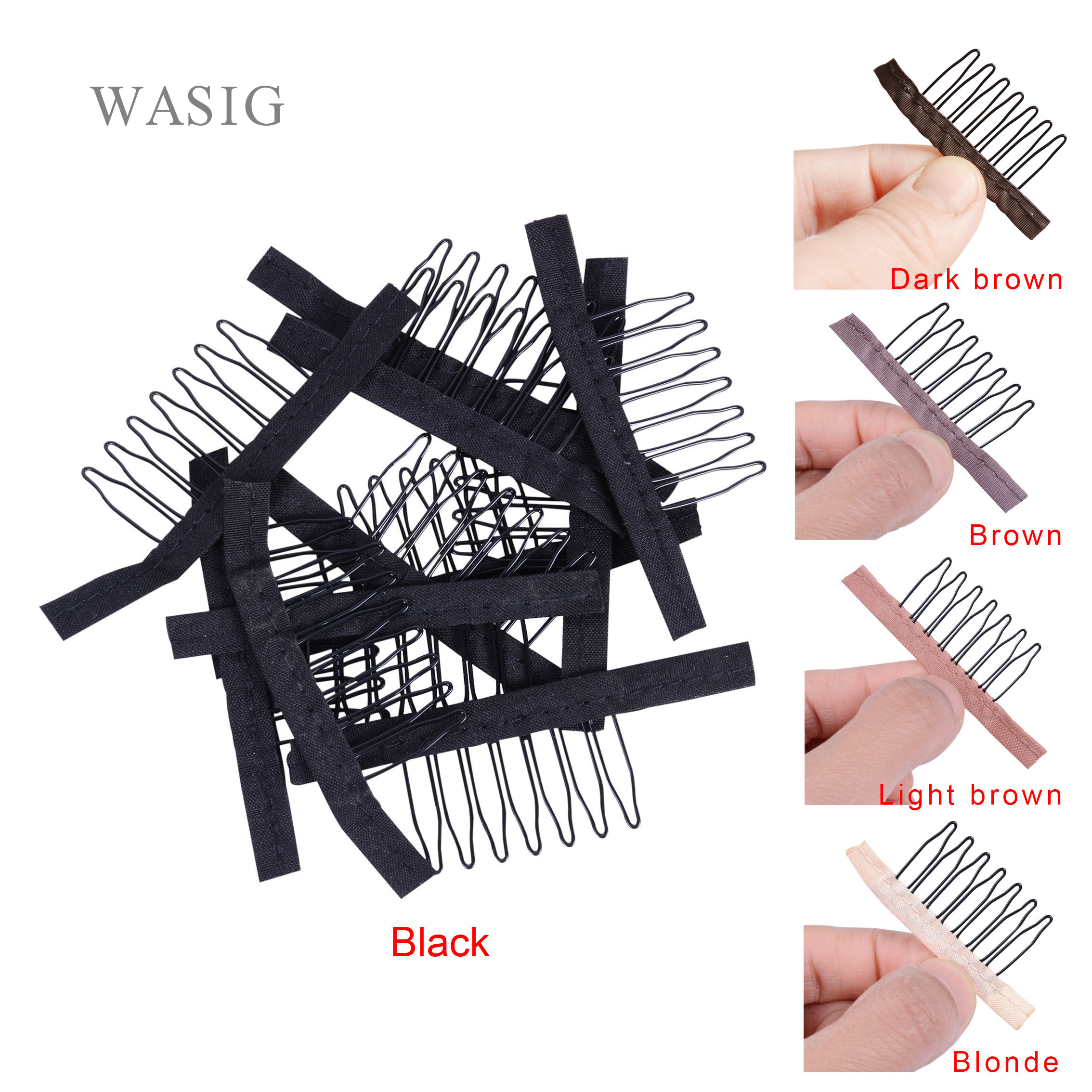 5 Colors Lace Wig Clips Steel Tooth Polyester Durable Cloth Wig Combs For Hairpiece Caps Wig Accessories Tools 30pcs/lot