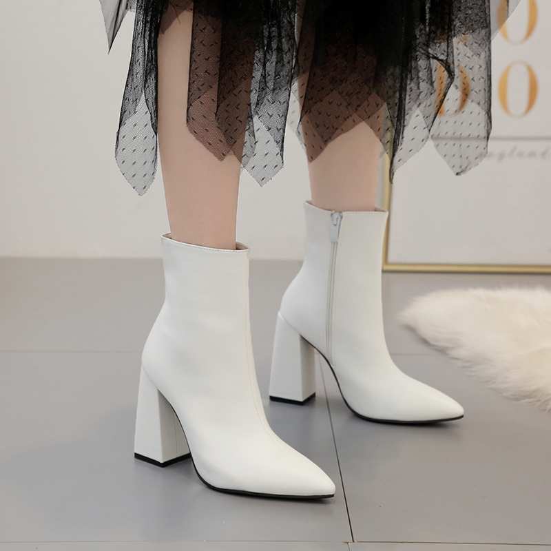 Shoes Woman Ankle Boots Leather High Heels Zip Boots Autumn Ladies Booties Fashion Pointed Toe Shoes White Zapatos De Mujer in Ankle Boots from Shoes