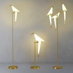 Nordic pássaro lâmpada de assoalho criativo acrílico mil guindastes papel lâmpadas assoalho para sala estar quarto decoração da casa lâmpada pé ouro