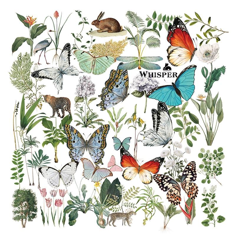 KLJUYP в ретростиле с изображением бабочки для тропические растения вощеная бумага наклейки для Скрапбукинг Happy Planner/карты/бумажник карты Высо...