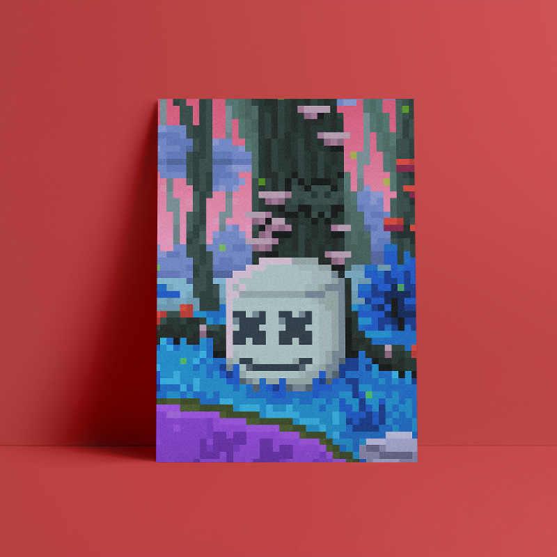 Póster de DJ Marshmello alone de 8 bits, lienzo decorativo para pared, sala de estar impresiones para, decoración para dormitorio y hogar