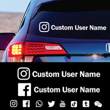 Instagram nome de usuário personalizado adesivo de carro decalques de vinil da motocicleta adesivos de carro facebook pinterest youtube snapchat pegatinas coche