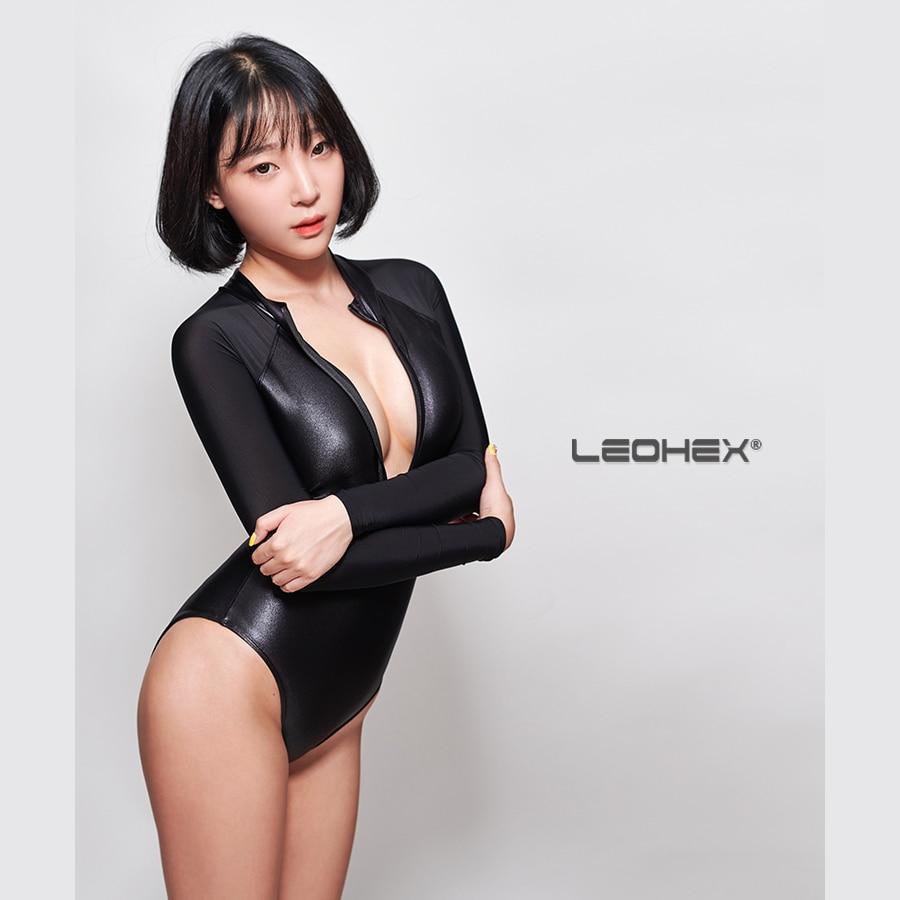 Sexy femmes Patchwork brillant body transparent buste ouvert évider body Sexy serré une pièce maillot de bain Sexy maillots de bain Sukumizu