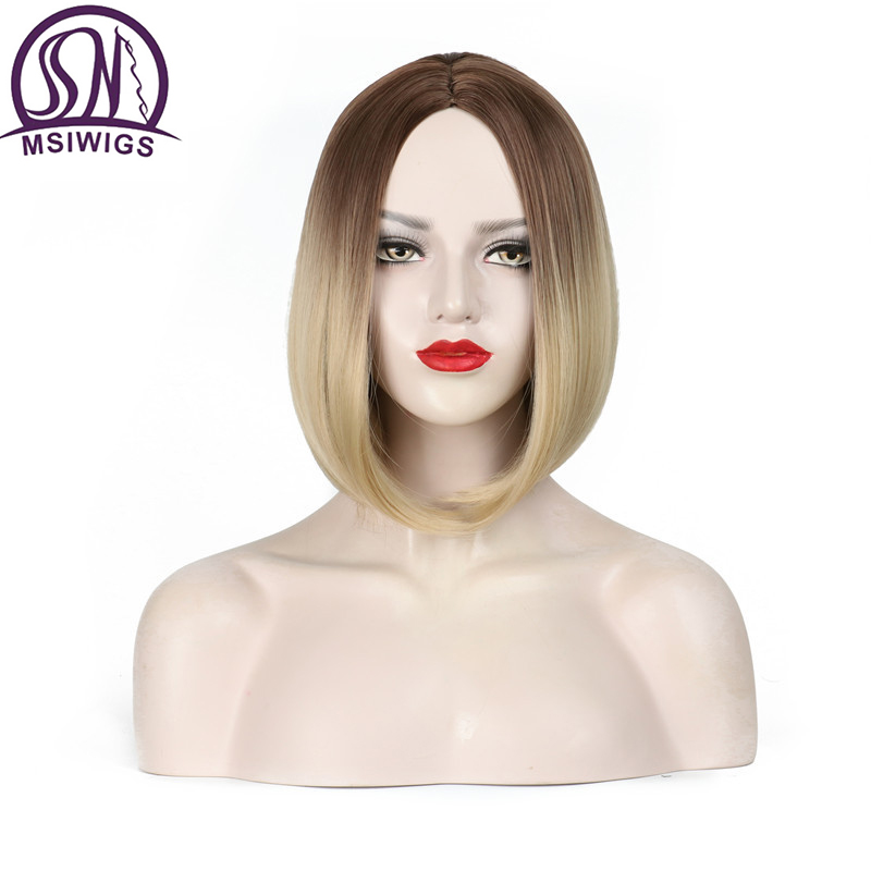 MSIWIGS Two Tones Blonde Ombre Wig Natural Afro Short Straight Hair Synthetic Wigs For Women Heat Resistant