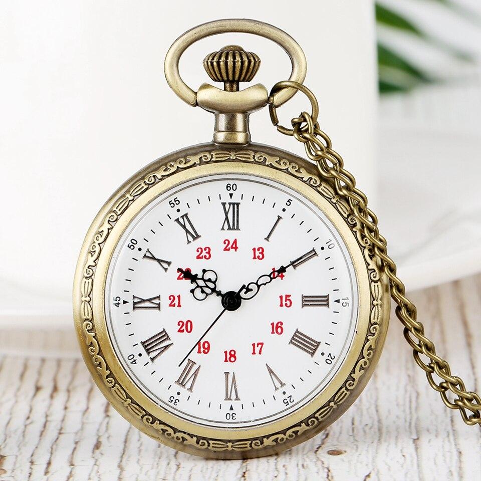 No Cover Design Quartz Pocket Watches Roman Numerals Bronze Floral Rattan Back Case Necklace Retro Chain Watch For Men Women