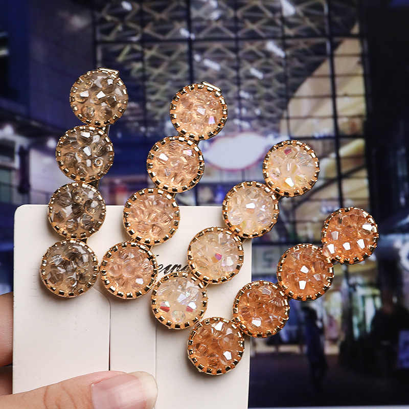 NEW Korean Bling Crystal Hairpins Barrette Hairclip Handmade Rhinesone Alloy round Hair Clips for Women Girls Hair Accessories