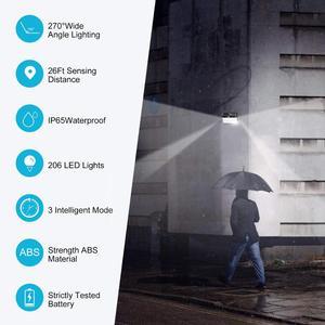 Image 5 - 206 LED Solar Light Pir Motion Sensor Decorative Solar Wall Light Outdoor Waterproof Led Solar Lamp For Garden Street Pathway