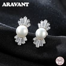 Authentic 925 Sterling Silver Crystal Candy Ice Out Stud Earrings For Women Sterling Silver Fashion Jewelry