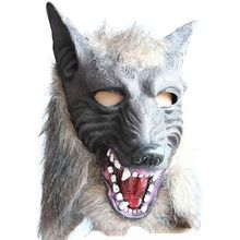 Creepy Full Face Wolf Latex Mask and Wolf Claws Theater Prank Prop Crazy Masks Halloween CostumeCM latex wolf mask toy for halloween black