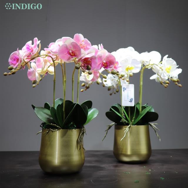 INDIGO  1 Set çiçek aranjmanı kelebek orkide vazo ile gerçek dokunmatik çiçek ofis masası Centerpiece parti olay ücretsiz kargo