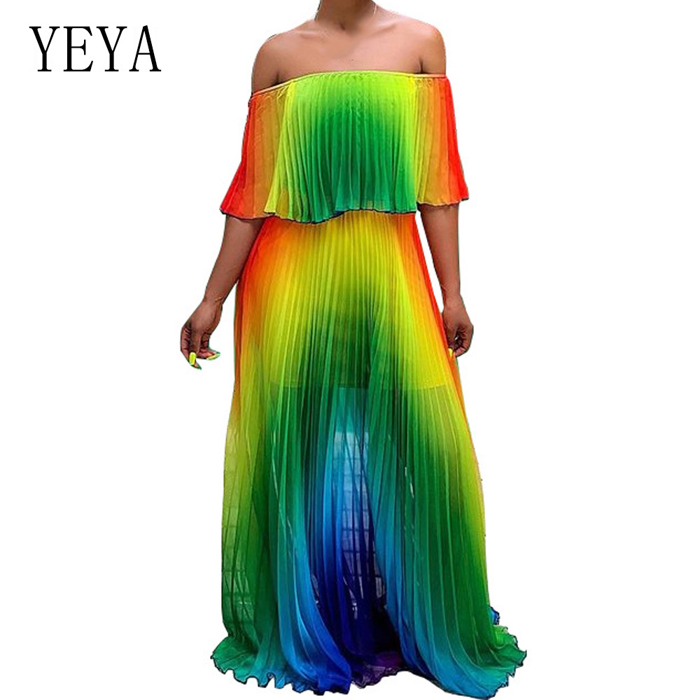 YEYA Off Shoulder Women Beach Gradient Tie Dye Print Chiffon Butterfly Sleeve Maxi Pleated Dress Sexy Summer Boho Long Dresses