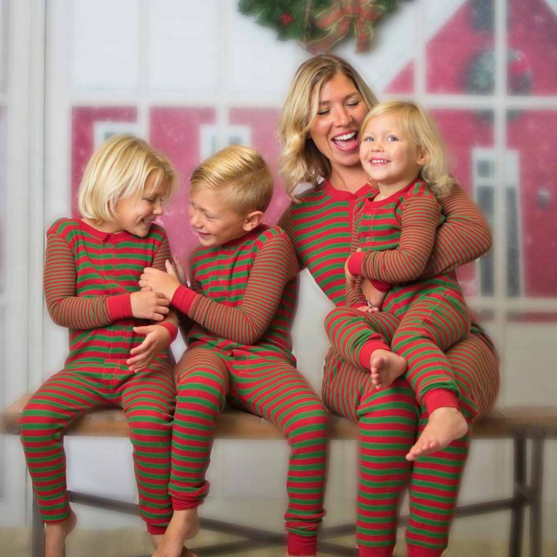 عيد الميلاد مخطط طباعة بذلة مجموعات 2019 الخريف الشتاء طويل الأكمام يا الرقبة زر رومبير الأسرة مطابقة عيد الميلاد منامة دعوى