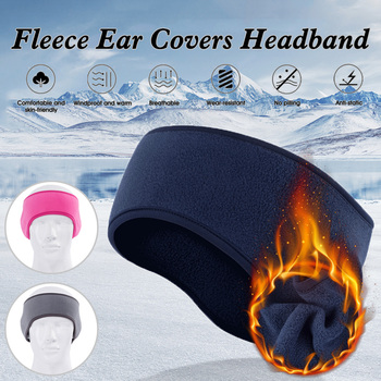 Winter Ear Warmers Fleece Lining Elastic Headband Ear Covers for Men and Women Cycling Running image