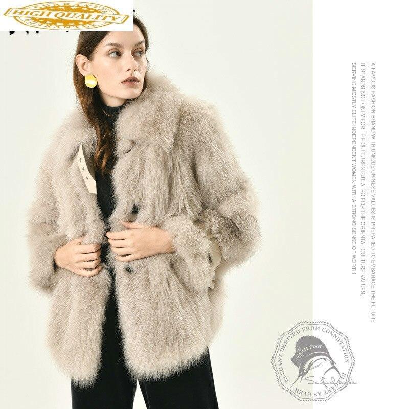 Winter Coat Women Clothes 2019 Real Fur Coat 100% Fox Fur Coat Women Korean Sheepskin Fur Jacket Fashion Tops CMX1072 YY1984