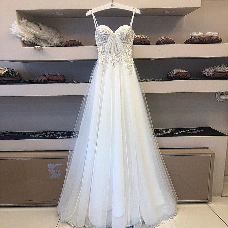 Hot Sale Spaghetti Straps Floral Lace Pleating A Line Floor Length White Tulle Wedding Dresses Vestido De Boda