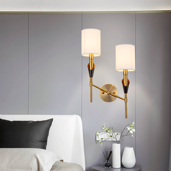 Nordic Indoor Decorative Fabric Lampshade LED Wall Lamp Wall Mounted Bedside Lamp Single/Dual Head Iron Bedroom Aisle LED Light