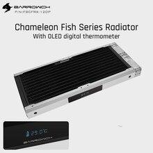 Barrowch FBCFRX-240 kameleon Fish modułowy grzejnik 240mm z wyświetlaczem OLED akrylowy/POM moduł wlotowy odpowiedni do wentylatora 120mm