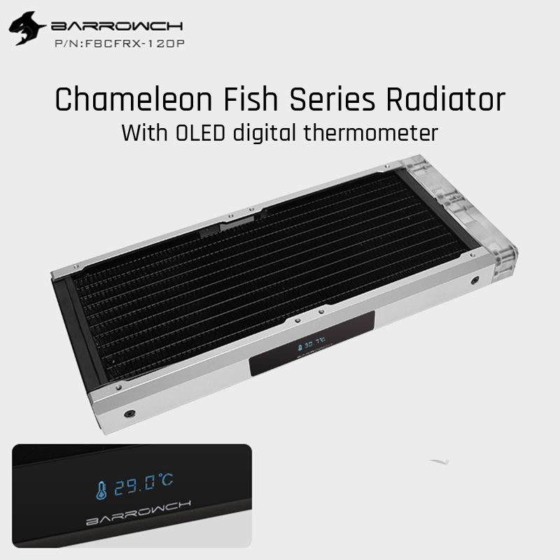 Barrowch FBCFRX-240 Chameleon Fish Modular 240mm Radiator With <font><b>OLED</b></font> Display Acrylic/POM Inlet Module Suitable For 120mm Fan image