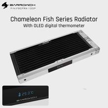Barrowch panel Modular de pez Camaleón de FBCFRX 240, radiador de 240mm con pantalla OLED, módulo de entrada de acrílico/POM adecuado para ventilador de 120mm