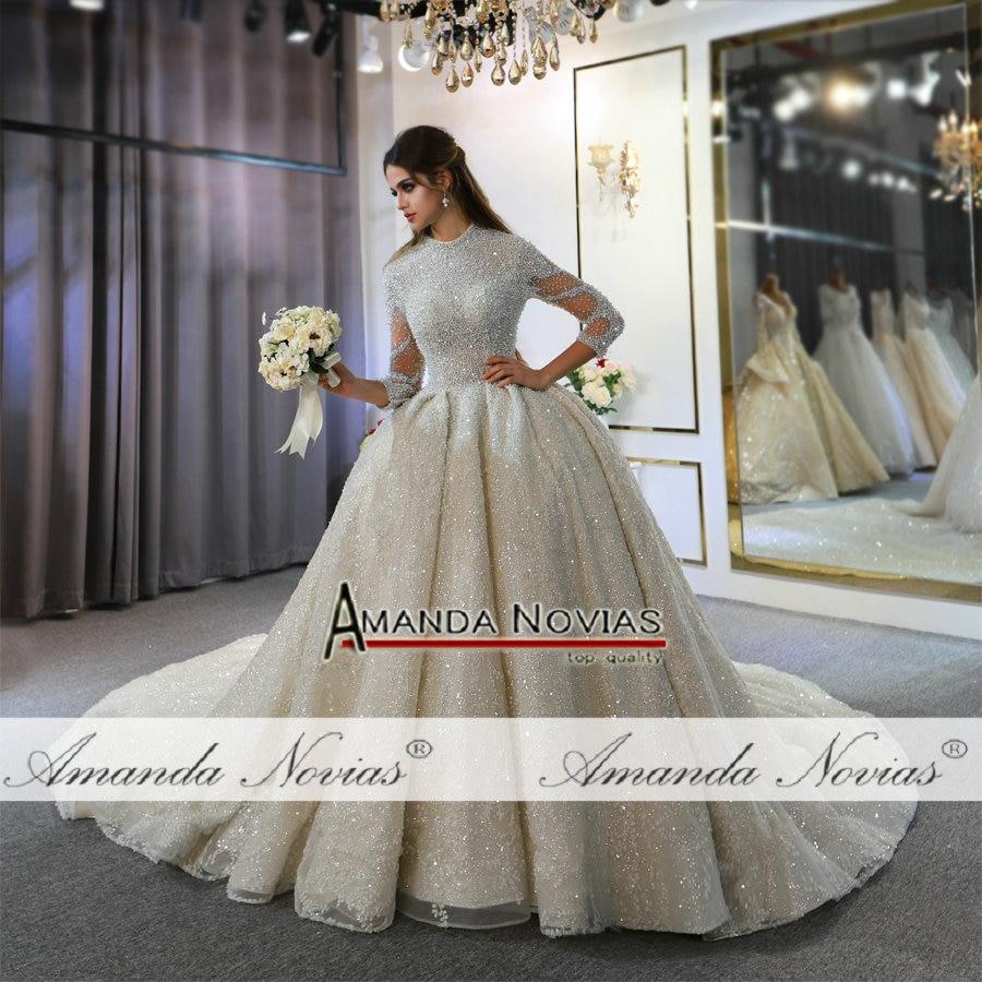 Image 5 - 2020 weeding dress amanda novias full pearls luxury lebanese wedding dressesWedding Dresses   -