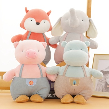 цена на Lovely Bib Pants Elephant&Pig&Hippo&Fox Plush Toy Soft Cartoon Animal Stuffed Doll Home Decoration Girlfriend Valentine's Gift