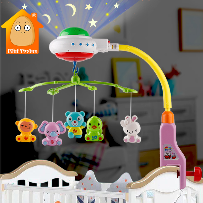 Baby Crib Mobile Toy Musical Projection Infant Bed Bell Colorful Newborn Rotating Rattle Early Learning Educational Toy For Baby