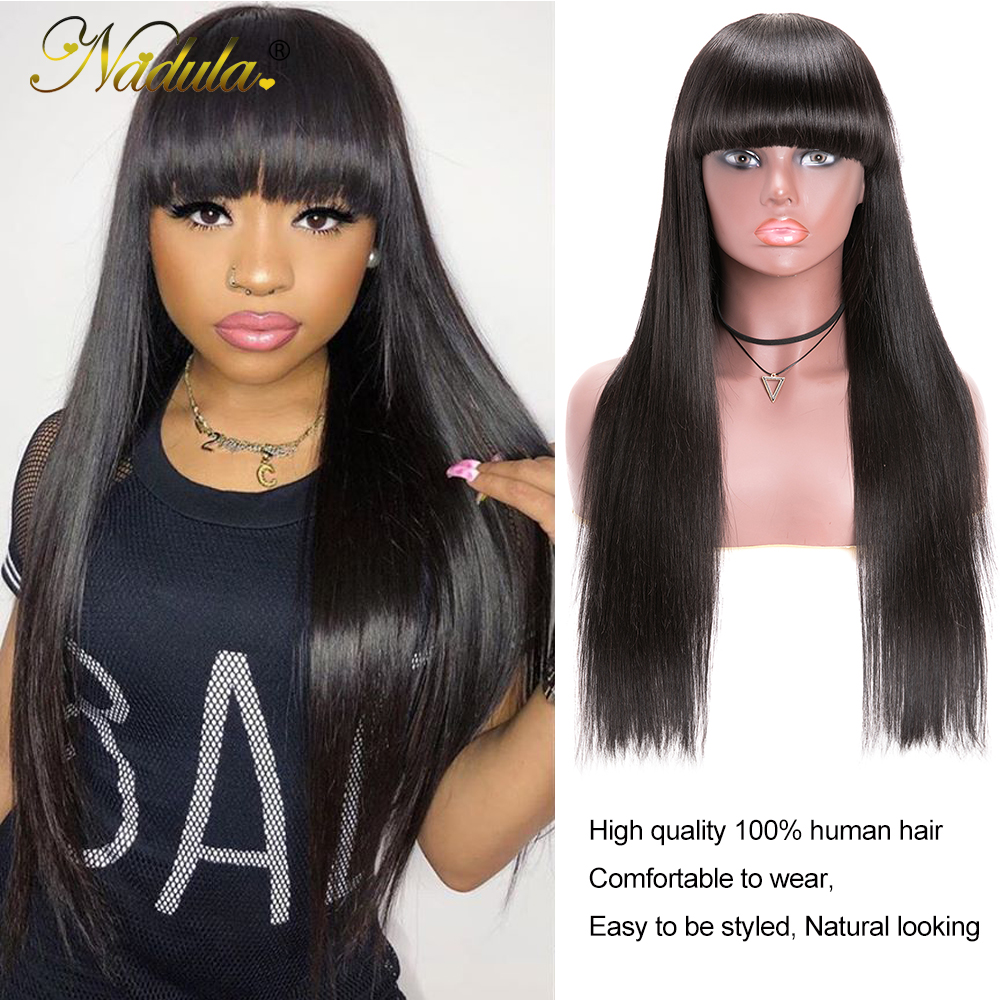 Nadula Hair Natural Machine Made Wig Straight Long Wig With Bangs  Wigs With Bangs  5